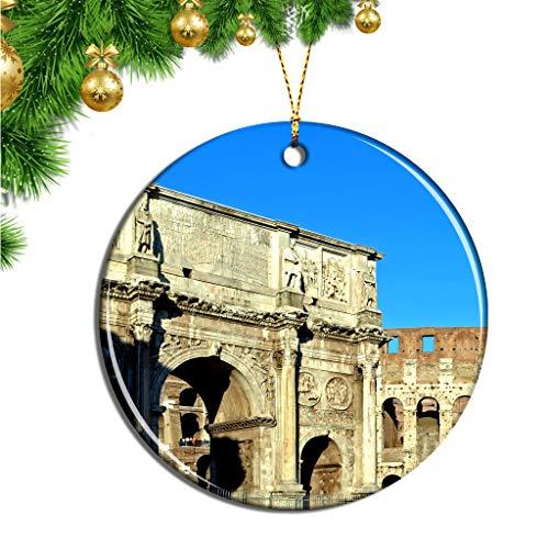 Hqiyaols Ornament Italia Arco de Constantino Roma Navidad Adornos Colgantes Pieza Cerámica Recuerdo Ciudad Viaje Regalo