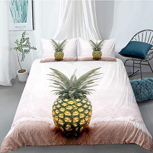 FWDDDEK® Patrón De Piña Amarilla De Frutas Tropicales Juego De Ropa De Cama 3D 150X200 Cm Ropa De...