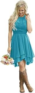 Women's Country High Low Halter Chiffon Bridesmaid Dress Western Wedding Guest Dress