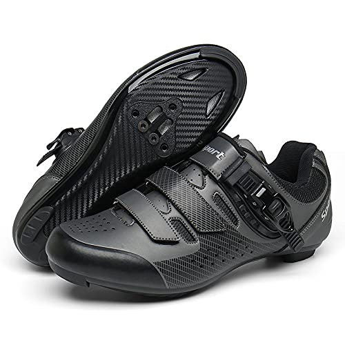 KUXUAN Zapatillas de Ciclismo Hombre Mujer Road SPD Bike Zapatillas de Ciclismo Cordón de Zapatos Compatible con los Pedales Look Delta,CarbonBlack-46EU