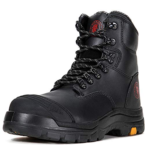ROCKROOSTER Work Boots for Men, 8 inch, Steel Toe, Slip Resistant Safety Oiled Leather Shoes, Static Dissipative, Breathable, Quick Dry, Anti-Fatigue(AK245 11)