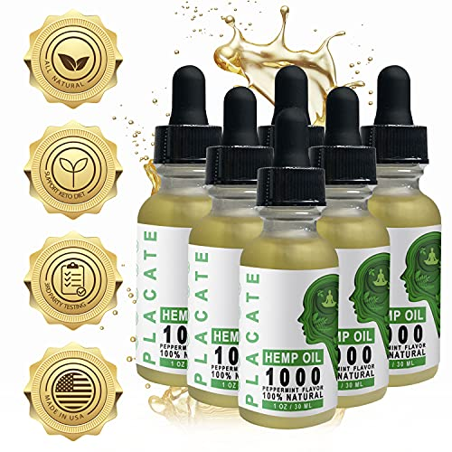 Hemp Oil Extract with Peppermint Oil for Pain Relief, Stress, Sleep Pure 1000mg - Grown & Made in USA - 100% Natural Hemp Drops (Peppermint Pack of 6)