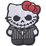 Hello Embroidered Kitty Patches As Jack Nightmare Before Christmas Armband Badge Morale Emblem Military Applique Fastener Decorative Patch