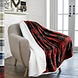 PAVILIA Premium Plaid Sherpa Fleece Throw Blanket   Super Soft, Cozy, Plush, Lightweight Microfiber, Reversible Throw for Couch, Sofa, Bed, All Season (50 X 60 Inches Red)