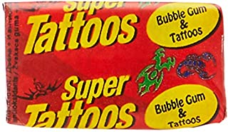 Super Tattoos Bubble Gum and Tattoos, 200 Pieces