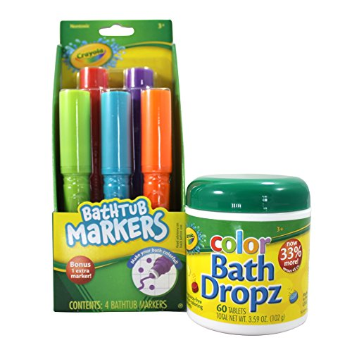 Crayola Bathtub Markers and Crayola Color Bath Drops, 60 tablets - Bring Creative Fun to Bath Time - Non-toxic