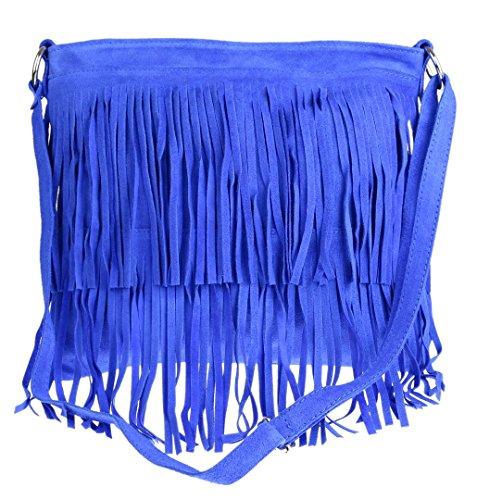 Girly Handbags Veloursleder-Franse-Umhängetasche (Königsblau)