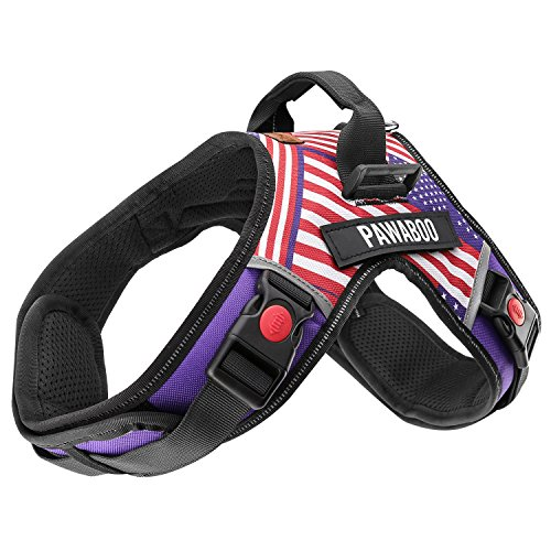 Pawaboo Dog Vest Harness, Adjustable Durable Heavy Duty Soft Padded Reflective Dog Vest Harness with Handle on Top for Pet Dog Training Walking, Hook and Loop Closure, Large Size, US Flag