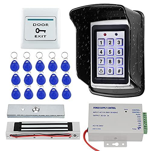 KUMU Sistema de Control de Acceso de Puerta RFID Impermeable al Aire Libre Teclado de Metal + Cerradura Magnética de 180KG+Cubierta a Prueba de Lluvia+Botón de Salida+Llaveros de 15pcs