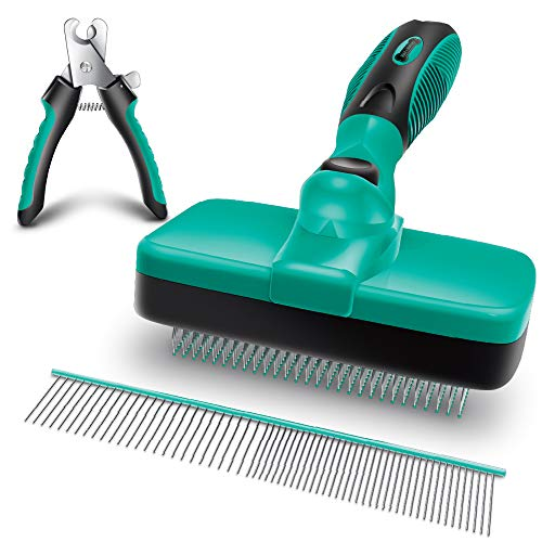 Ruff 'N Ruffus Self-Cleaning Slicker Brush + Bonus FREE Pet Nail Clippers | UPGRADED PAIN-FREE BRISTLES | Cat Dog Brush Grooming Gently Reduces Shedding & Tangling For All Hair Types