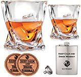 Vaci Crystal Whiskey Glasses – Set of 2 Bourbon Glasses, Tumblers for Drinking Scotch, Cognac, Irish Whisky, Large 10oz Lead-Free + Stainless Steel Flasks and Coaster, Cups, Luxury Gift Box for Men or