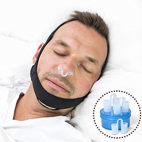 Anti Schnarchen Kinnriemen Lösung - Mit Einstellbaren Nasenschlitzen in 3 Größen, Komfortables Anti-Schnarchen Gerät zum Schlafen und Dilatator - Die perfekte Kiefer-Atemhilfe Für Schlafstörungen. Es Lohnt Sich Für Eine Ruhige Nacht