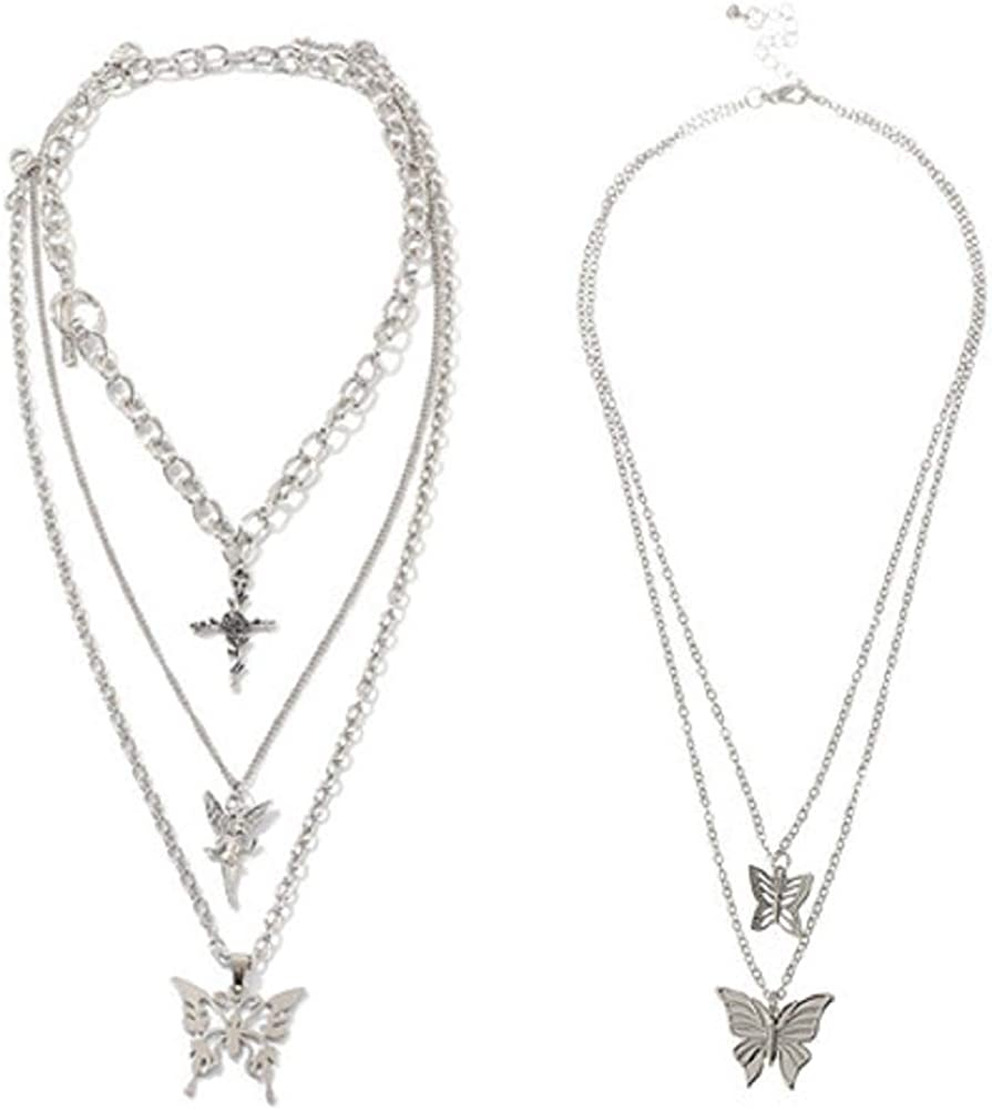 2 Pcs Layered Chain Necklace Sets Butterfly Lock Chains Necklace Angel Coin Layered Choker Emo Aesthetic Chunky Chains Gothic Adjustable Layering Chain Cuba Chain Link Jewelry for Eboy Egirl