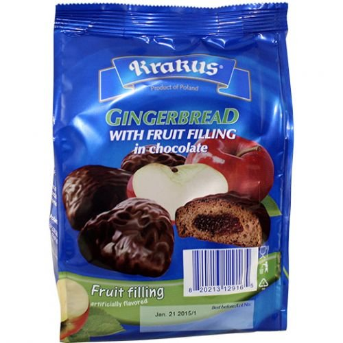 Krakus Gingerbread Fruit Filling Covered in Chocolate - 5.64 oz (Pack of 2) (Apple)