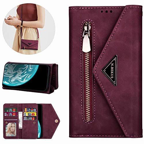 Miagon für iPhone 7 Plus/8 Plus Crossbody Reißverschluss Hülle,Brieftasche Geldbörse Handtasche mit Schulterriemen Flip Kartenhalter Ständer PU Leder Cover für iPhone 7 Plus/8 Plus