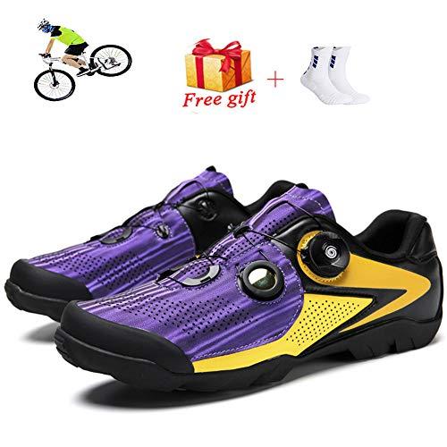 ZFY Men's Outdoor Sports Mountain Shoes Bike Bike Shoes Without Lock Non-Slip Mountain Bike Sports Shoes Racing Women's Bicycle Shoes,B-47