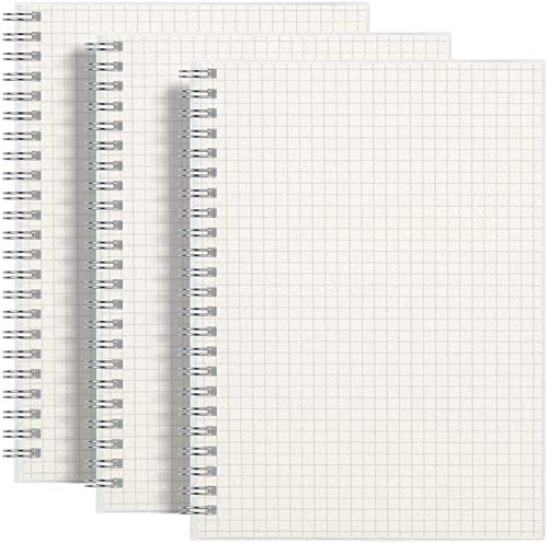 """RETTACY Graph Paper Notebook 3 Pack - A5 Graph Grid Spiral Notebook with 480 Pages,100gsm Thick Graph Paper,5.7""""x 8.3"""""""