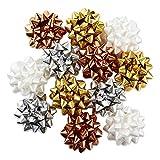 Hallmark Holiday Gift Bow Assortment (12 Bows) Gold, Silver, Bronze, White for Christmas, Hanukkah, Birthdays, Weddings, Bridal Showers