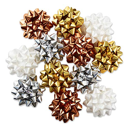 Hallmark Holiday Gift Bow Assortment (12 Bows) Gold, Silver, Bronze, White for Christmas, Hanukkah, Birthdays, Weddings, Bridal Showers