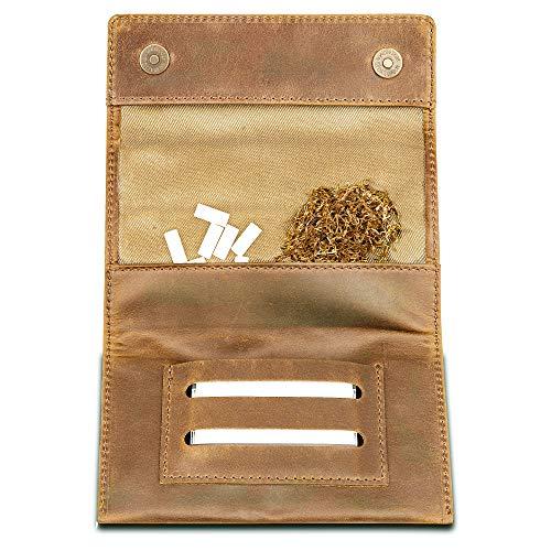Indian Pearl Echtleder Tabaktasche mit extra Reißverschlußfach I Handgemachter Tabakbeutel I Drehertasche Leder, Tobacco Pouch, Drehbeutel, Drehtabak - Hellbraun
