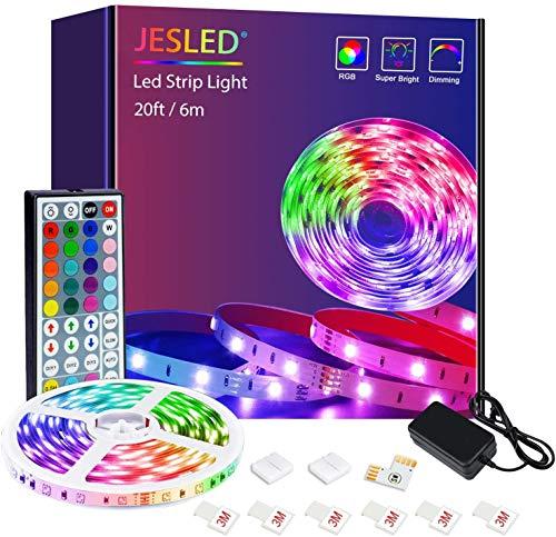 LED Strip , JESLED 6m (1x6m) LED Streifen Band, RGB SMD 5050 LED stripes Selbstklebend, Farbwechsel LED Band mit 44 Tasten IR Fernbedienung, für die Beleuchtung von Haus, Party, Küche