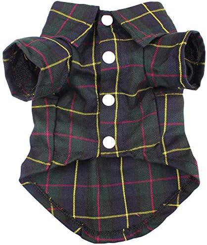 HOODDEAL Dog Shirts Black Plaid Stripe Polo T Shirt Apparel Cute Breathable Cotton Jacket Pet product image