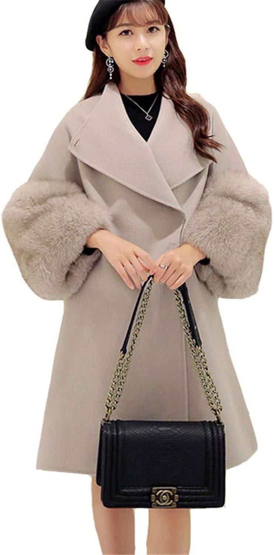 HCMONSTER woolen coat Autumn Women Sheep Blends Coat Long Winter jacket Coat Warm Long Sleeve Cashmere Coats Light Grey Coat Women