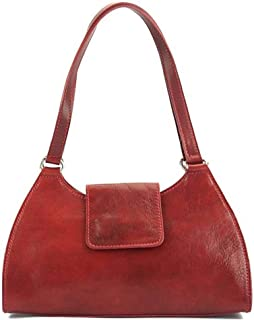 FLORENCE LEATHER MARKET Borsa Rossa a spalla donna in pelle 32.5x10x19 cm - Floriana - Made in Italy