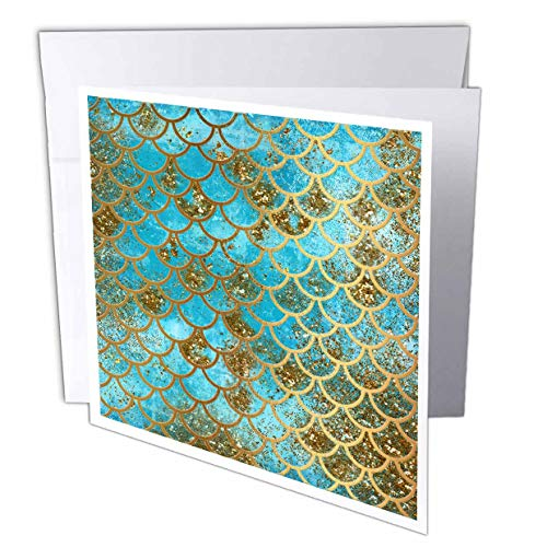 "3dRose Greeting Card Sparkling Teal Luxury Elegant Mermaid Scales Glitter Effect Art Print, 6 x 6"" (gc_266934_5)"