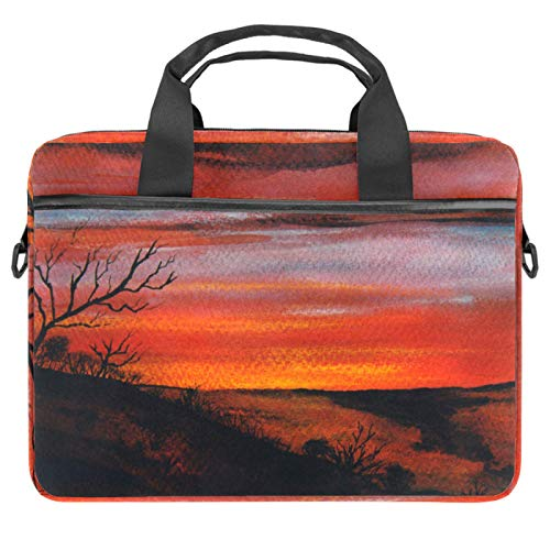 Nice Landscape Laptop Shoulder Bag Carrying case with Accessory Storage Pockets (13.4-14.5 inch)