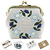 Embroidery Coin Purse Kit - Stamped Flower Embroidery Starter Kit, DIY Handmade Embroidery Pouch Sewing Craft Project for Adults Woman Change Purse Wallet