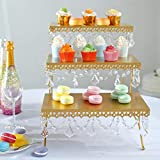 Efavormart 15' Tall GOLD 3 Tiered Serving Stand Cupcake Dessert Stand With Crystal Pendants