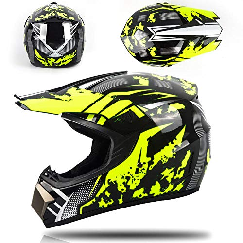 Motor off-road helm kinderen en adolescenten elektrische helm skelter volledige helm-gele zandstorm Lichte, comfortabele en veilige helm_L