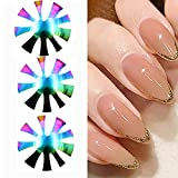 2021 New Nail Cutter Plate 3 Pcs,French Nail Manicure Edge Trimmer,9 Sizes Cut V Line Gel Cutter Tool,Stainless Steel DIY Plate Module,Nail Cutter Tool (Rainbow Color)