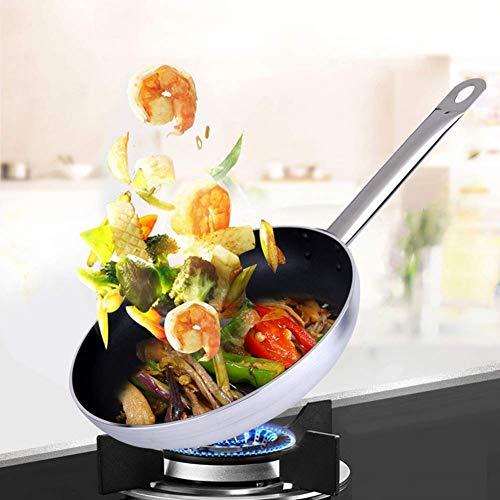 LIUSHI Sartén de Aluminio Antiadherente asa de Metal con Aislamiento Hueco para Todas Las encimeras, Incluido el Horno de inducción para Salsas, Platos de Pasta, Curry y Patatas Fritas Plateado 22