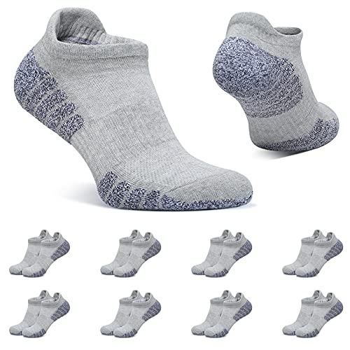 BUTTBILL Sneaker Socken Damen 39-42 Hellgrau Kurze Socken Herren Sportsocken 8 Paar Baumwolle Atmungsaktive Gepolsterte Laufsocken Unisex
