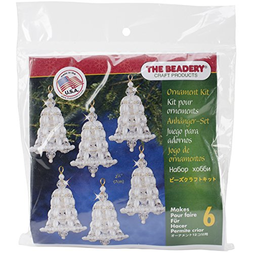 Beadery Holiday Beaded Ornament Kit Crystal and Pearl Bells 2.75-inch Makes 6