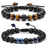 Lava Rock Bracelet - 8mm Lava Rock Bead Tiger Eye and Blue Tiger Eye Anxiety Bracelet, Men Women Stress Relief Yoga Beads Adjustable Aromatherapy Essential Oil Diffuser Healing Bracelets