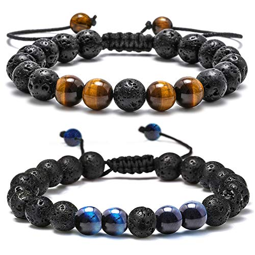 M MOOHAM Lava Rock Bracelet - 8mm Lava Rock Bead Tiger Eye and Blue Tiger Eye Anxiety Bracelet, Men Women Stress Relief Yoga Beads Adjustable Aromatherapy Essential Oil Diffuser Healing Bracelets