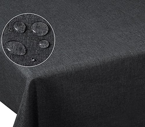 Laneetal 0800051 Tischdecke Leinendecke Leinenoptik Wasserabweisend Lotuseffekt Tischtuch Fleckschutz pflegeleicht abwaschbar schmutzabweisend Eckig 130x260 cm Grau