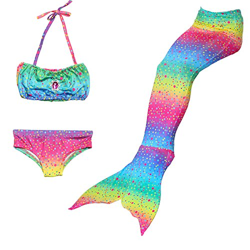 THEE 3pcs Traje de Baño de Cuello Hálter con Cola de Sirena Bikini Set para Niña, Size 120