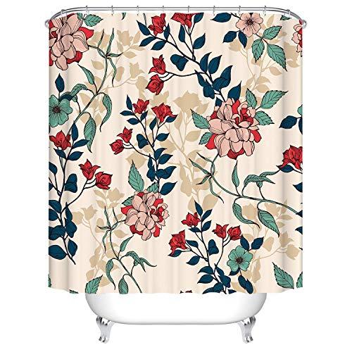 DJY-JY Cortina de ducha geométrica de flores, resistente al moho y al agua, con 12 ganchos, poliéster, 180 x 180 cm