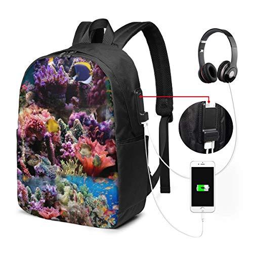 Laptop-Rucksack für Herren und Damen, passend für 43,2 cm (17 Zoll), USB, wasserabweisend, lässiger Tagesrucksack für Arbeit, Reisen, Schule, Uni, Geschäftsreise, Pendeln, Aquarium-Hintergrund