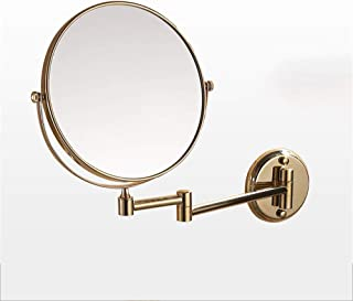 Extendable Bathroom Wall Mount Makeup Mirror,Two-Sided HD with 3X Magnification Vanity Mirror 360° Rotation Makeup Mirror Wall Mount,Gold,8inch