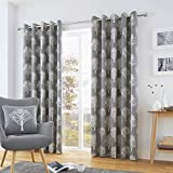 Fusion - Woodland Trees - 100% Cotton Pair of Eyelet Curtains - 90' Width x 72' Drop (229 x 183cm)...