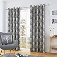 """Fusion - Woodland Trees - 100% Cotton Pair of Eyelet Curtains - 90"""" Width x 90"""" Drop (229 x 229cm) i..."""
