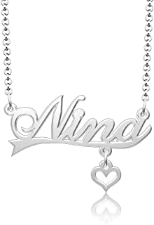 ShinyJewelry Sterling Silver Personalized Name Pendant Customized Nameplate Necklace