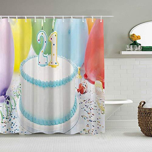 SUHOM Duschvorhang,21. Geburtstagsfeier-Kuchen mit bunten Luftballons,personalisierte Deko Badezimmer Vorhang,mit Haken,180 * 180