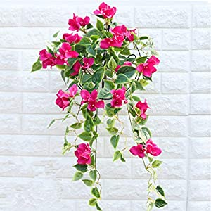 Mynse 2 Pieces Hanging Artificial Bougainvillea Glabra Flower for Balcony Outdoor Home Decoration
