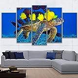 XIANGPEIFBH Lienzo artístico para Pared, imágenes Impresas en HD, decoración del hogar, Sala de Estar, 5 Piezas de Tortuga Marina y Pintura de Acuario, póster de Arrecife de Coral